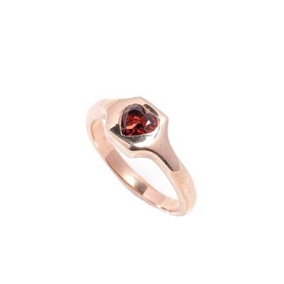 The Elemental Signet Ring - Heart Garnet - 7⌀ (Vermeil)