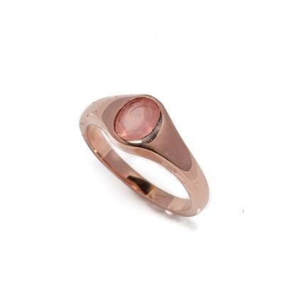 The Elemental Gypsy Signet Ring - Rose Quartz - 6⌀ (Vermeil)
