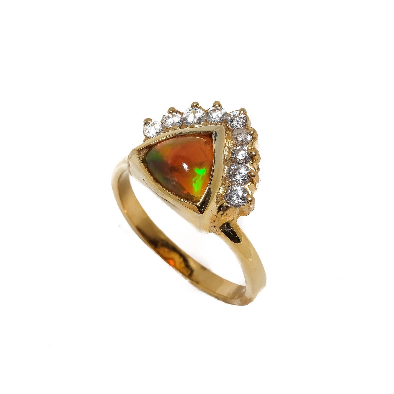 Elemental Aura Ring - Opal, CZ - 6 ⌀ (Vermeil)