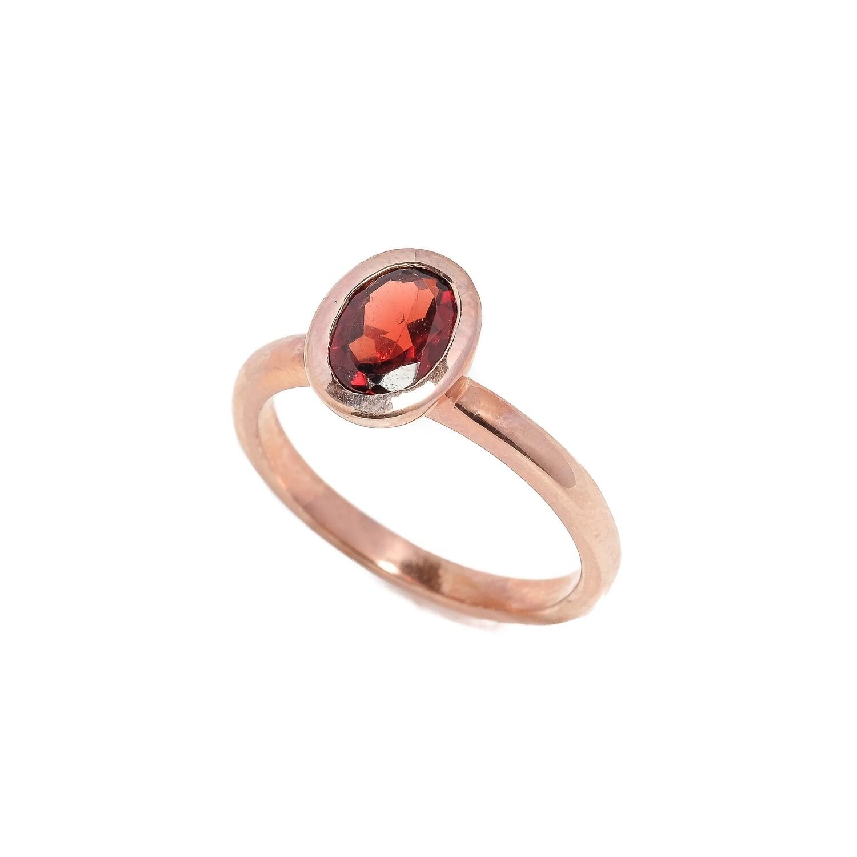 Bezel Ring - Garnet - 5⌀ (Vermeil)
