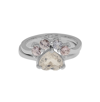 The Elemental Paw 2-Rings - Sapphire & Moonstone - 6⌀ (14KT)