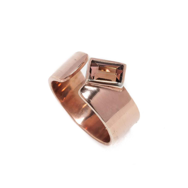 Elemental Moderne Open Ring - Pink Tourmaline - 6.5⌀ (Vermeil)