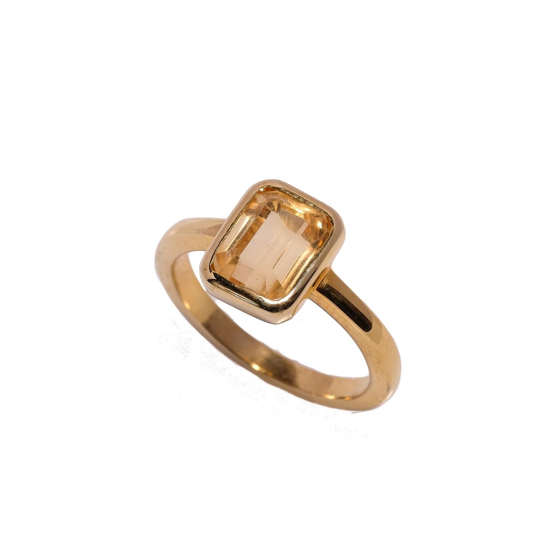 Bezel Ring - Citrine - 6⌀ (Vermeil)