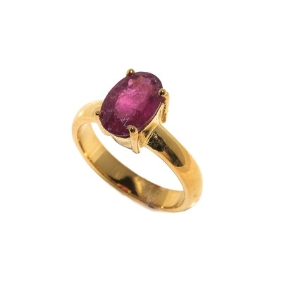 The Elemental Solitaire Ring - Pink Tourmaline Rubylite - 5⌀ (Vermeil)