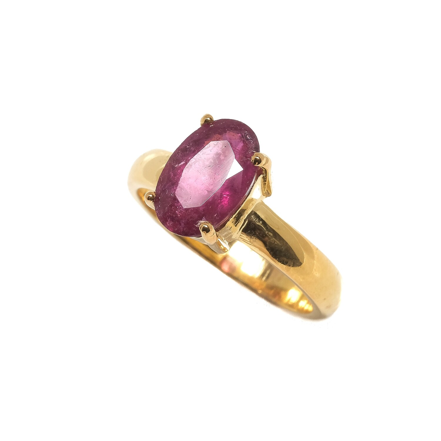 Solitaire Ring - Pink Tourmaline Rubylite - 5⌀ (Vermeil)