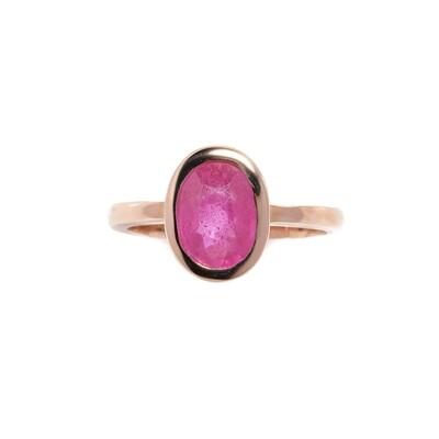 The Elemental Bezel Ring - Ruby- 6⌀ (10KT Rose Gold)