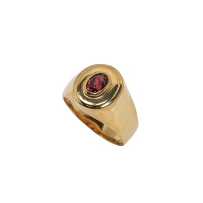 Elemental Signet Ring - Garnet- 6⌀ (Vermeil)