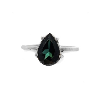 Solitaire Ring - Green Tourmaline - 7⌀ (S925)