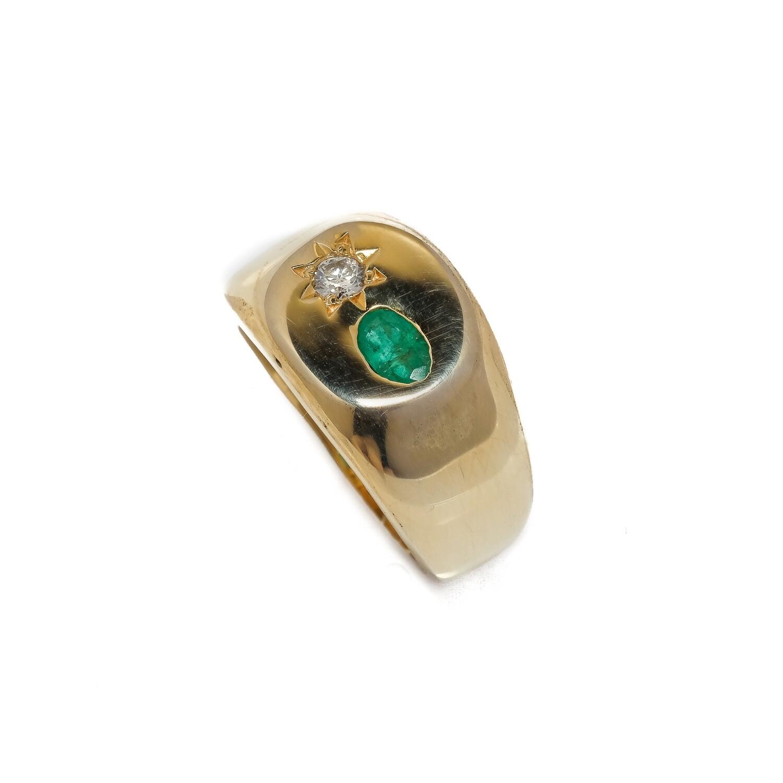 Elemental Signet Ring -  Emerald & Moissanite - 5.5⌀ (Vermeil)