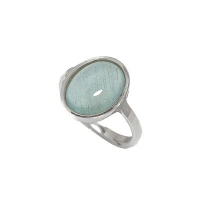 Bezel Ring - Aquamarine - 5⌀ (S925)