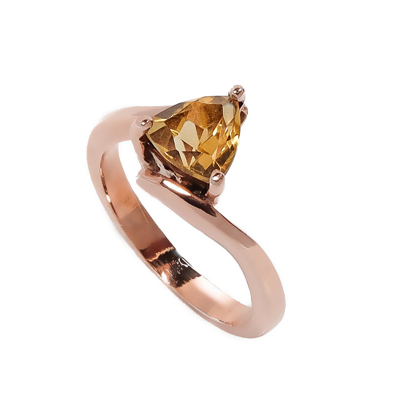 Solitaire Ring - Citrine- 6.5⌀ (Vermeil)