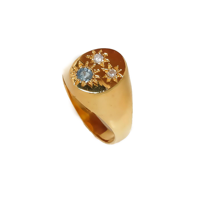 Elemental Starburst Signet Ring - Sapphire- 4.5⌀ (Vermeil)