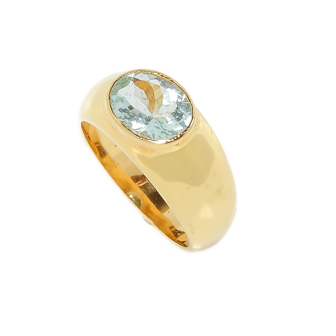Elemental Gypsy Ring - Aquamarine - 6.5⌀ (Vermeil)