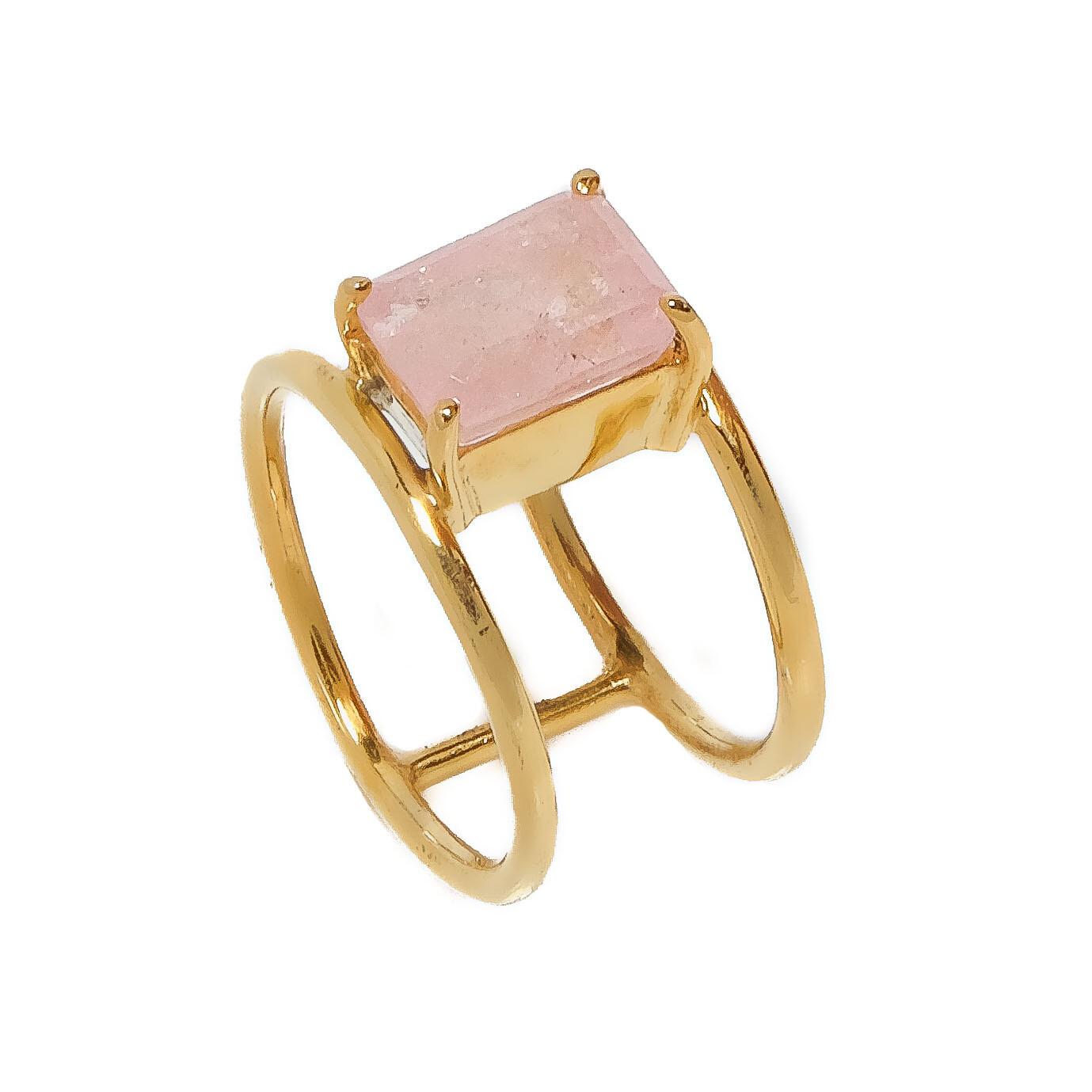 Elemental Double Band Ring - Morganite - 4.5⌀ (Vermeil)