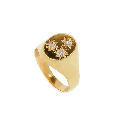 Elemental Starburst Signet Ring - Moissanites - 5⌀ (Vermeil)
