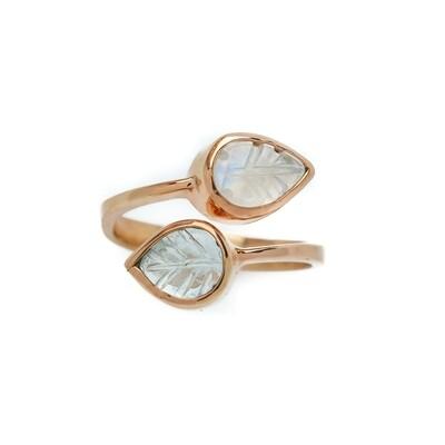 Elemental Autumn Open Ring - Moonstone, Aquamarine - 6⌀ (Vermeil)