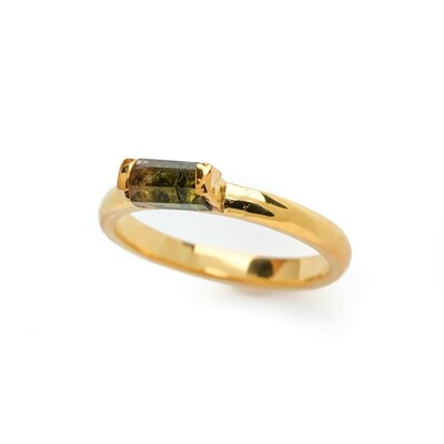 Elemental Bar Ring - Tourmaline - 5⌀ (Vermeil)