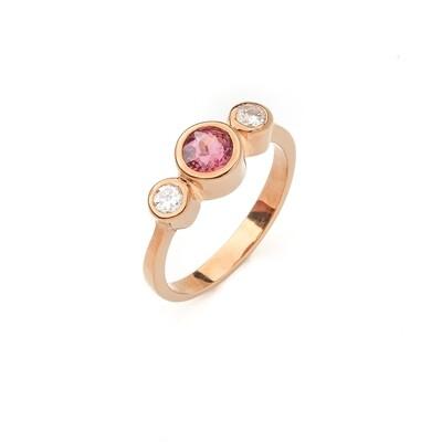 Elemental Bezel 3-Stone Ring - Tourmaline, Moissanite - 5⌀ (14KT)