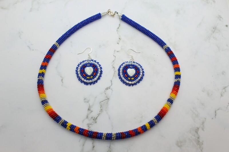 SHORT BEADED BLUE NECKLACE W/ EARRINGS SET