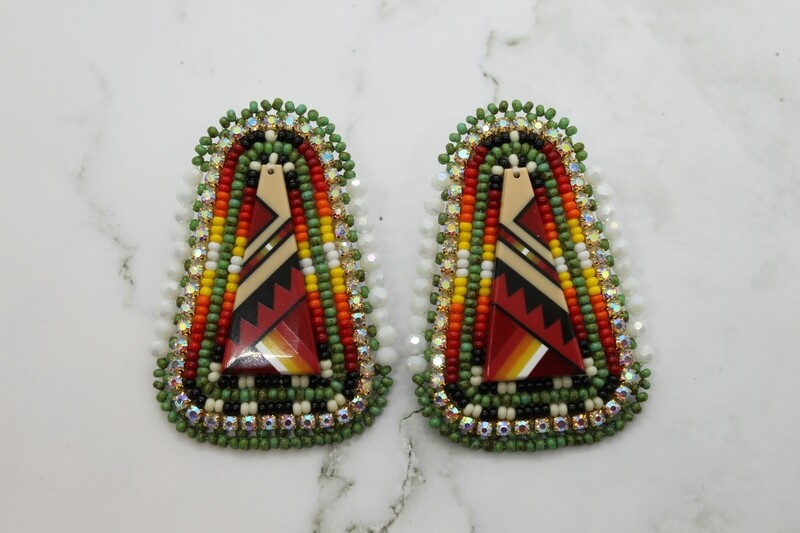 DARK GREEN AND RED INLAY