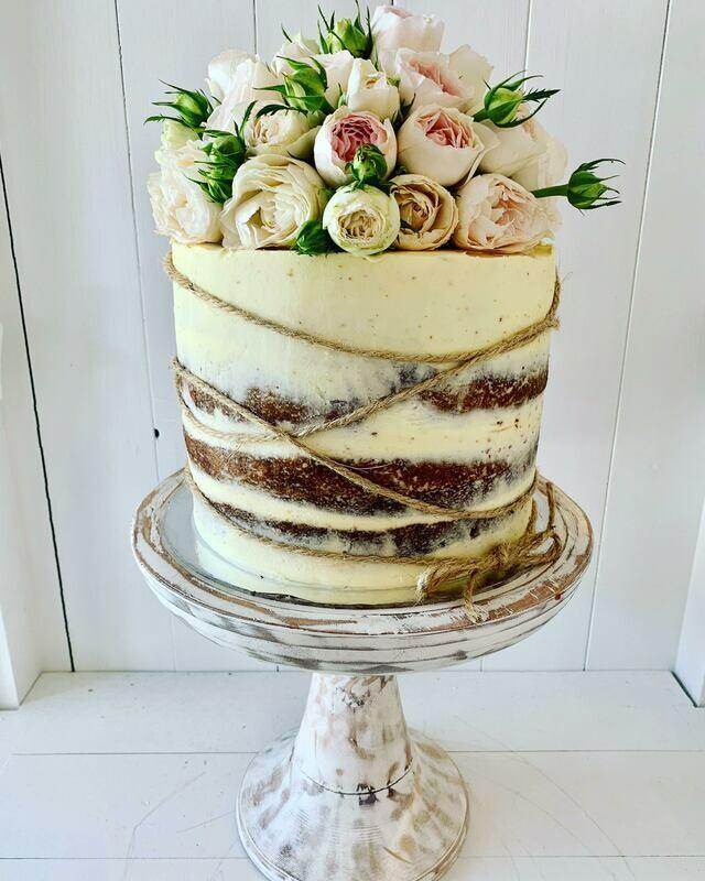 Whitewashed Cake with Fresh Roses & Twine Wrap
