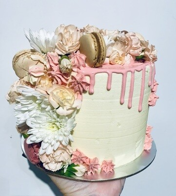 Pink Drip Cake with Tumbling Flowers