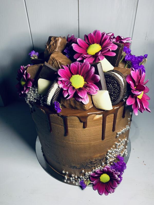 Crazy Chocolate & Flower Cake