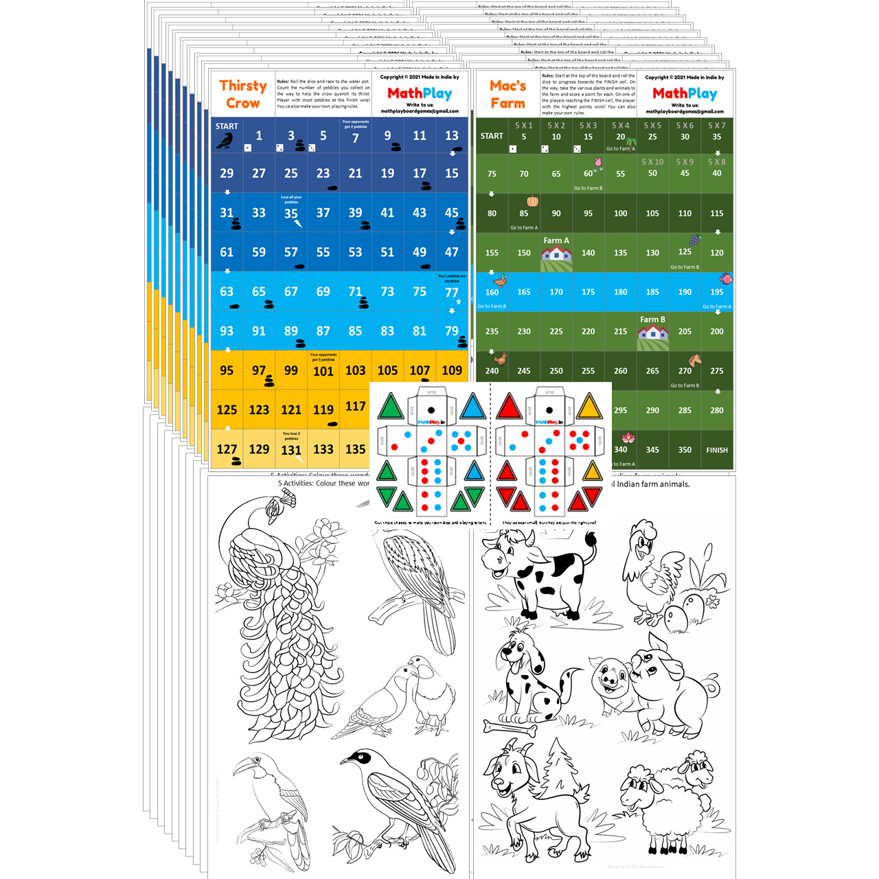 MathPlay Birthday Return Gift for Kids - Mac's Farm | Thirsty Crow (Pack of 10) - 15 in 1 Activities, Educational, Games, Painting, Dice Making Activities