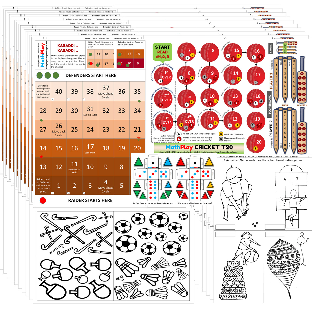 MathPlay Birthday Return Gift for Kids - Sports (Pack of 10) - 12 in 1 Activities, Educational, Games, Painting, Dice Making Activities