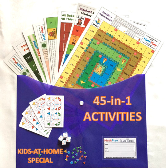 MathPlay Kids-at-Home Special - 45 Activities-in-1 | Educational Games, Painting, Dice Making Activities