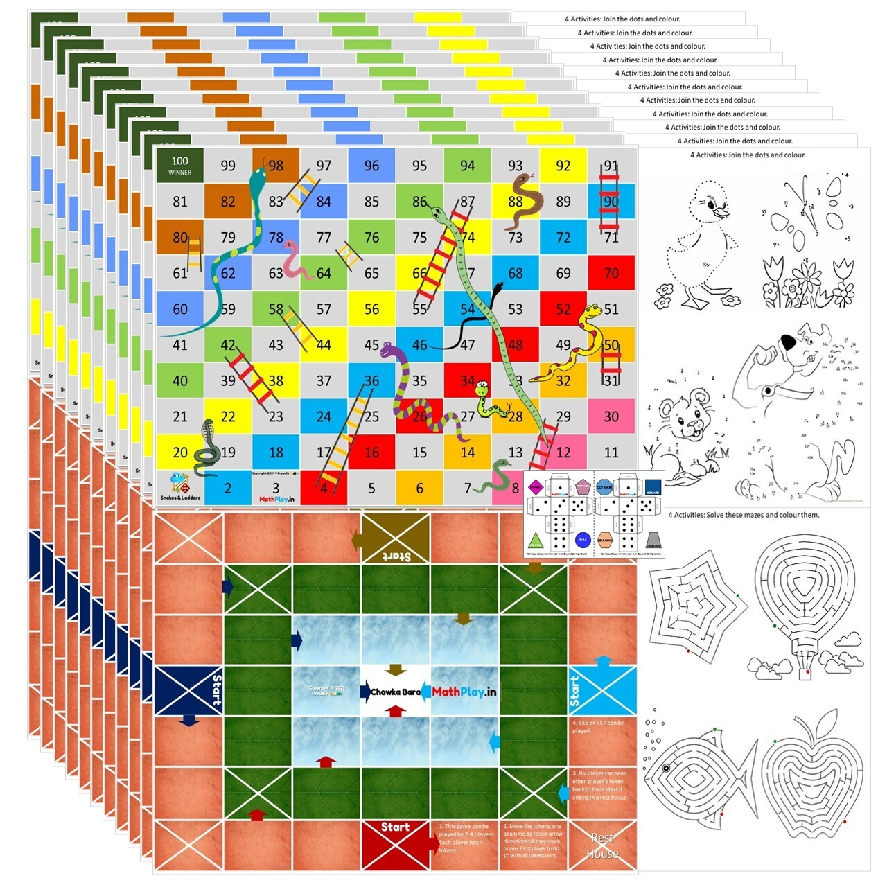 MathPlay Snakes & Ladders | Chowka Bara Birthday Return Gift for Kids (Pack of 10) - 12 in 1 Activities - Educational Games, Colouring, Dice Making Activities