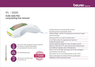 Beurer IPL Pure Skin Pro for long-lasting hair removal