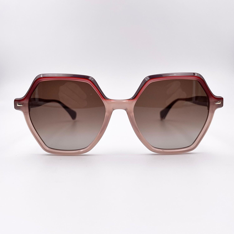 Occhiale da sole Donna a forma esagonale ampia in celluloide Gigi Studios color cipria - 6543/6