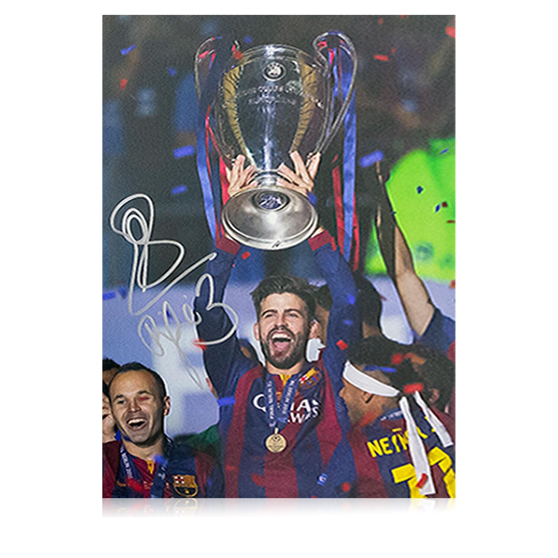 Gerard Pique Signed Barcelona Champions League Winners Print
