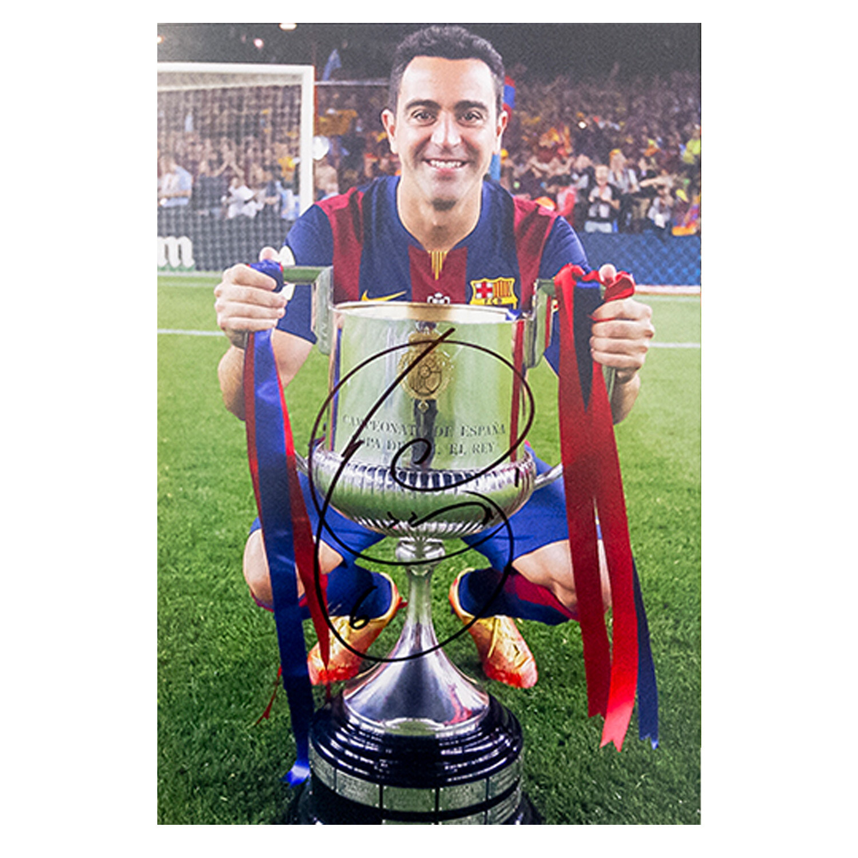 Xavi Copa Del Rey Trophy Signed Print