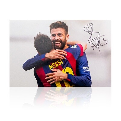Gerard Pique Celebration with Messi Signed Signed Print