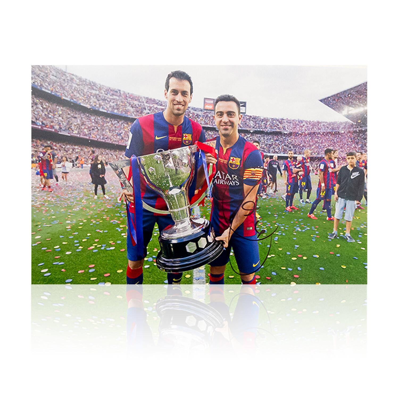 Xavi and Busquets Copa Del Rey Signed Print