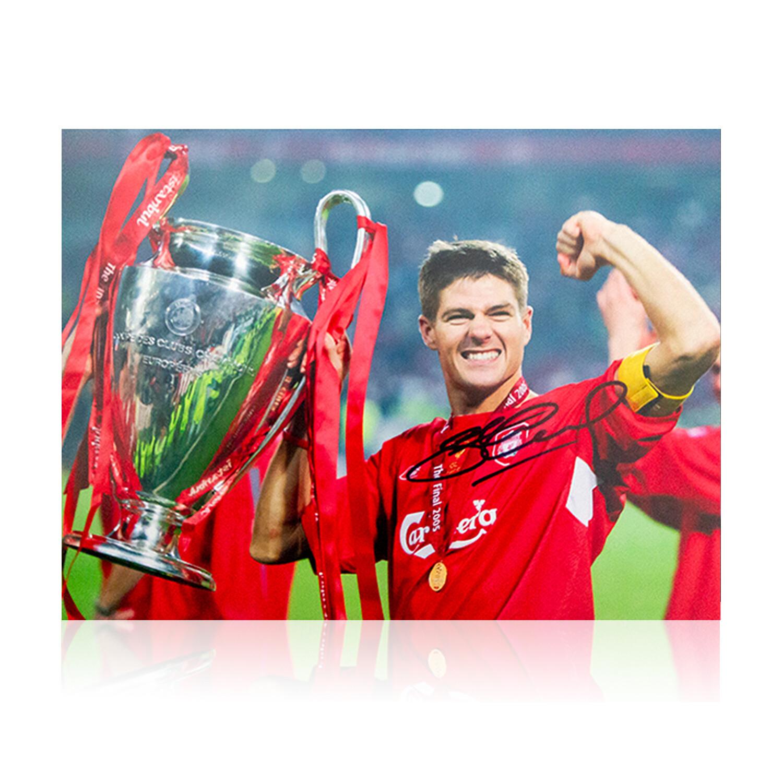 Steven Gerrard Liverpool Champions League Winner Signed Print
