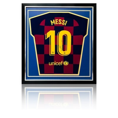 Lionel Messi Signed & Framed Barcelona 2019/20 Shirt