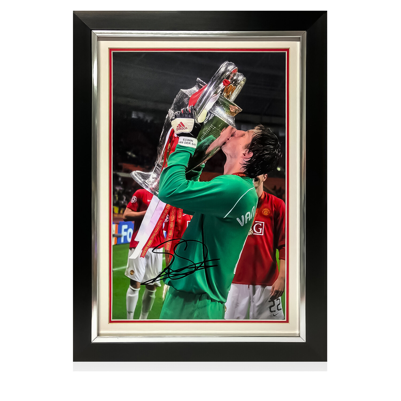 Van Der Sar Champions League Trophy Signed Print