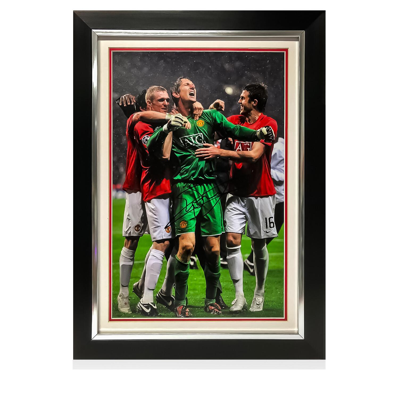 Van Der Sar Champions League Celebration Signed Print