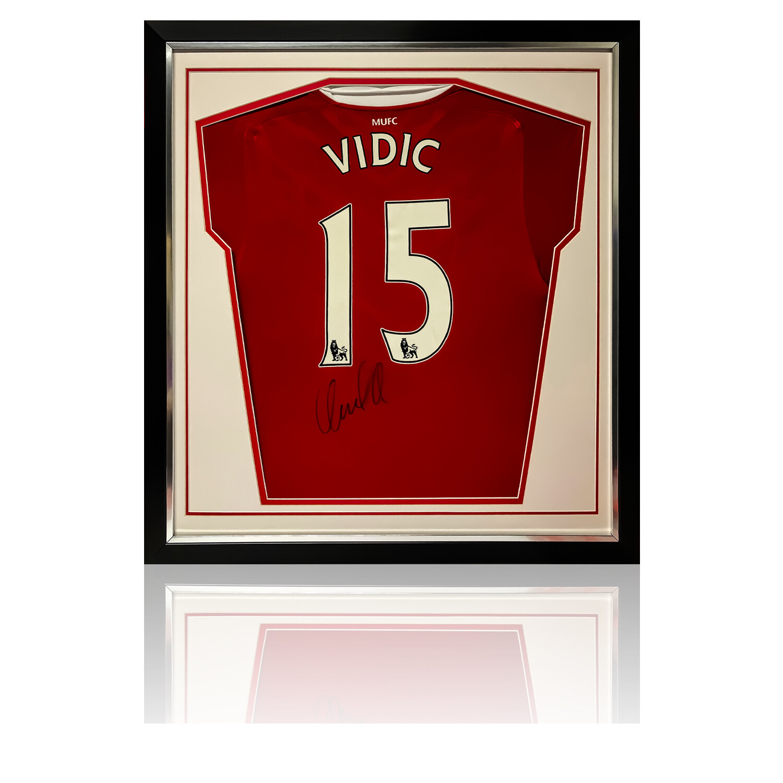 Nemanja Vidic Signed & Framed Manchester United Shirt