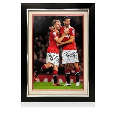 Giggs & Scholes Celebration Signed & Framed Print