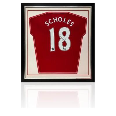 Paul Scholes Signed & Framed Manchester United Shirt