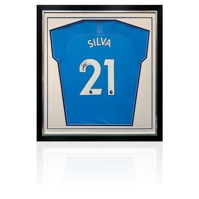 David Silva Signed & Framed Deluxe Man City Shirt