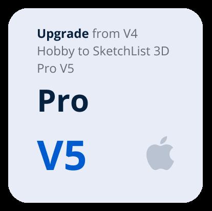 Upgrade V4 Hobby to V5 Pro SketchList 3D- Mac