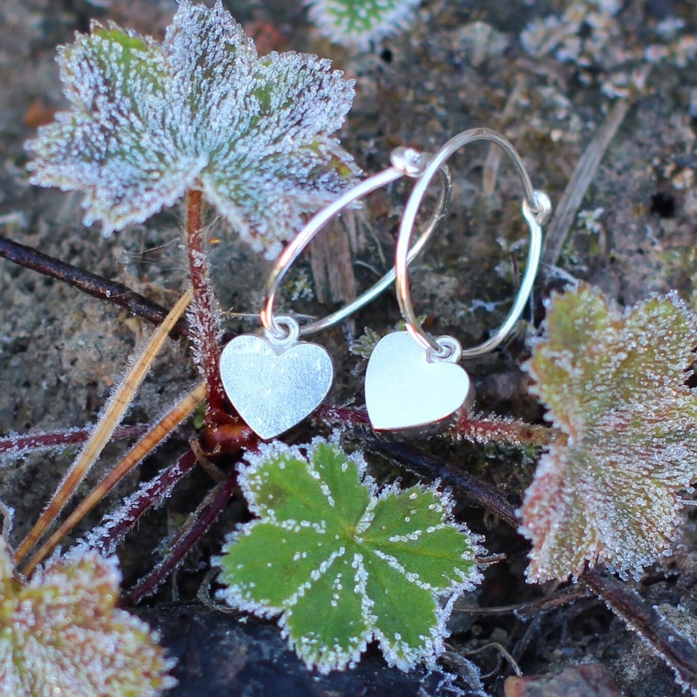 Örhänge - ring med hjärta