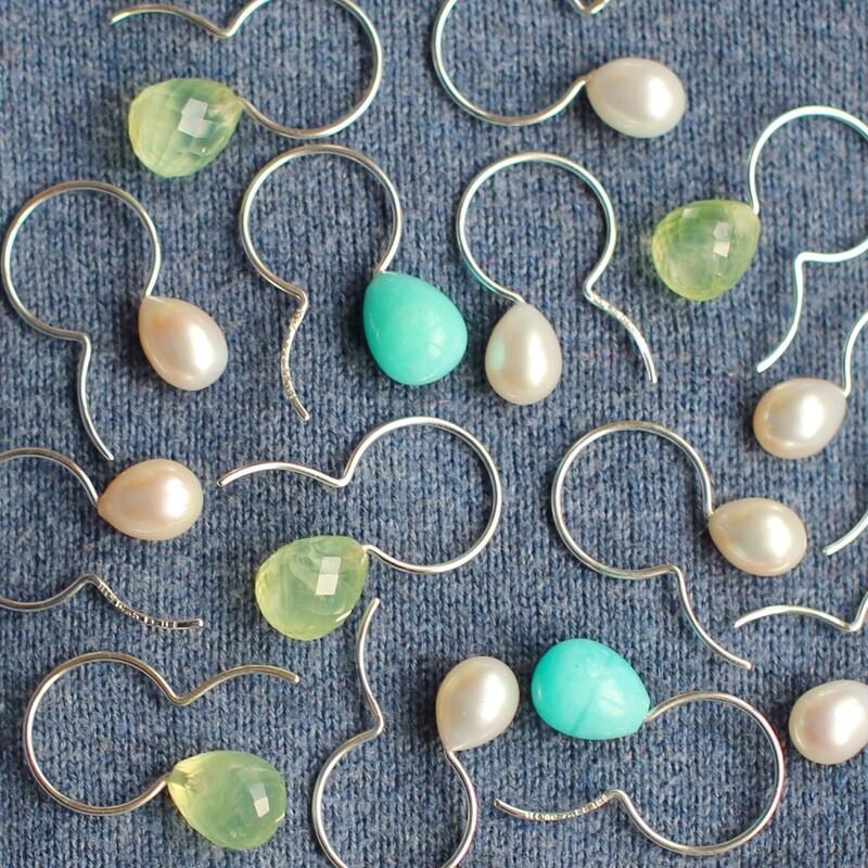 Örhänge - krok pärla, silver