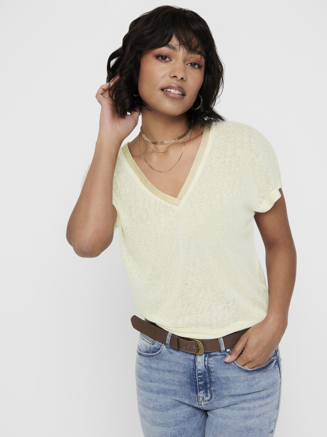ONLRILEY S/S V-NECK GLITTER TOP JRS OATMEAL