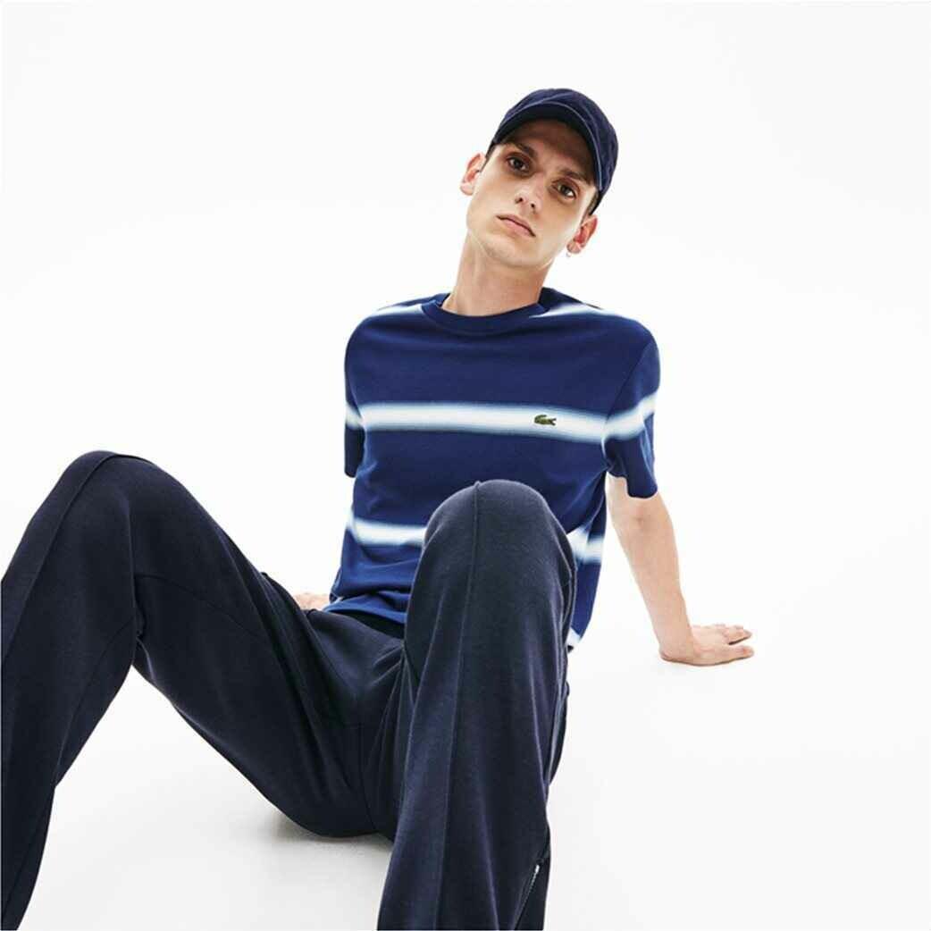 Lacoste Men's Pique T-Shirt with Blue Dark Tie-dye Stripes